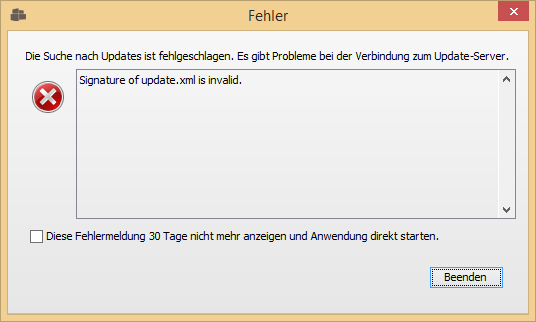 fehler egvp update server